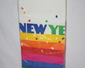Rainbow Happy New Year paper table cloth new in package, fun and bright, good colors