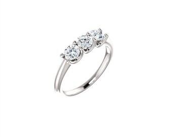 14k solid white gold 3 stone diamond ring. past, present, future diamond ring.