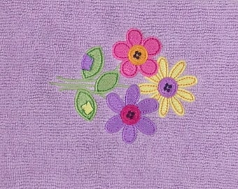 Pink, Yellow and Purple Flowers Microfiber Hand Towel - Lavender