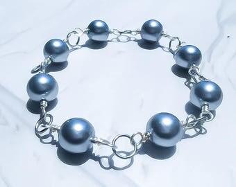 Wrapped silver pearl bracelet - Yoga bracelet - Beaded bracelet - Bohmeian bracelet - Wire Wrapped Bracelet - Pearl Bracelet