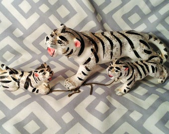 Rare Set of 3 White Tigers - Mother and Baby Cubs Chained Together - Miniature Porcelain Figurine Set