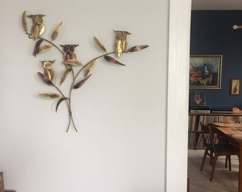 Brass Wall Hanging | Owls | Brutalist-esque | Mid Century Modern |Curtis-Jeré Inspired