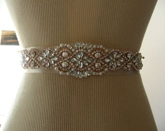 Sale, Rose Gold Wedding Belt, Bridal Belt, Bridesmaid Belt, Sash Belt, Rose Gold, Crystal Rhinestone & Pearl