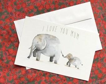 Greeting card I Love You Mum Elephants