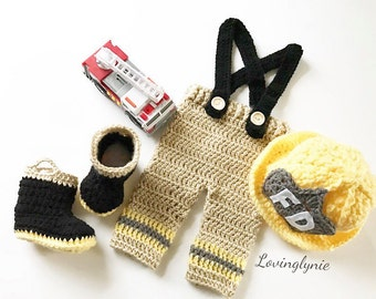 Crochet fireman baby outfit / photo prop / baby firefighter outfit