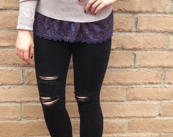 Shirt extender - Purple lace shirt extender.