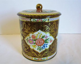 Vintage Daher Tin Brown And Pink Floral Metal Tin Vintage Decorative Tea Storage Tin Container Canister  Decor