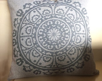 Medallion Pillow cover. Gray blue pillow cover. Accent pillow . Throw pillow . Decorative pillow. Designer fabrics. sofa  pillow. slipcover