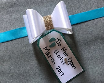 Turquoise Maternity Sash- White Bow-Do Not Open Until, Baby Shower, Photography Prop,Blue Sash,Boy Maternity Sash, Tag Sash,Baby Shower Sash
