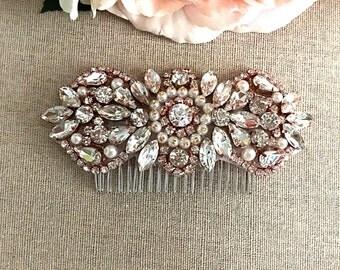 Rose Gold Bridal Hair Comb- Rhinestone and Pearl Bridal Hair Comb- Bridal Headpiece- Rose Gold Rhinestone Bridal Comb