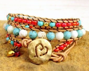 Turquoise and Coral Triple Leather Wrap Bracelet with Gold Heart Button ~ Boho Wrap Bracelet ~ Romantic Gift for Her ~ Southwestern Boho