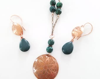 Copper Necklace, Etched Copper, Copper Pendant, Copper Earrings, Green Bead, One of a kind etched copper necklace with green beads