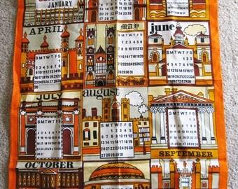 SALE Vintage 1972 Calendar  London  Linen Tea Towel - Kitchen Towel - NOS