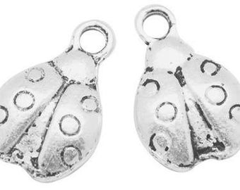 10, 20, or 50 Silver Lady Bug Charms, Antique Silver, Wholesale Charms, Good Luck Pendants