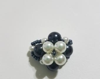 Ivory and Black Pearl Ring