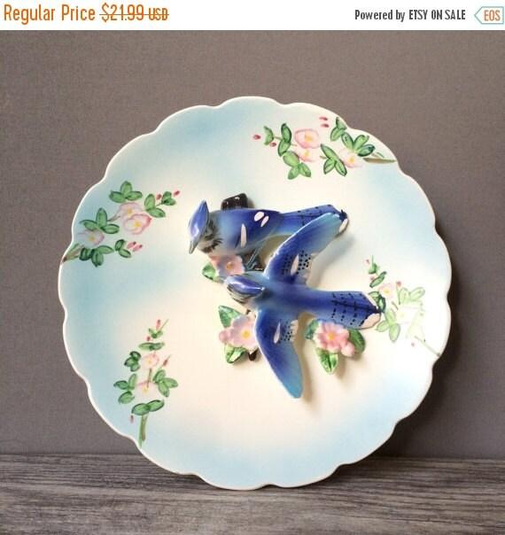 ON SALE Decorative Porcelain Blue Bird Plate, Three Dimensonal, Wall Decor