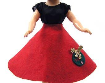 Vintage 1950s Retro Doll Skirt for Little Miss Revlon Jill or Similar 10 1/2 inch Doll Handmade