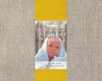 Wrights Satin Blanket Binding - Single Fold - Yellow 794 079 - 2 Inch x 4-3/4 Yards