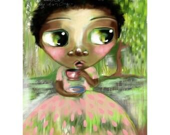 Nursery Art Print - Tea By The Lake - whimsical portrait