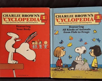 Two Vintage 1980 Charlie Brown's 'Cyclopedia Volume 1 and 2 Featuring Your Body & All Kinds of Animals from Fish to Frogs Hard Back Books