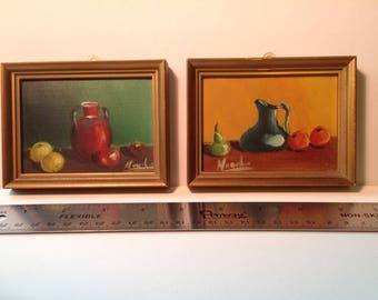 Pair of Miniature Oil Paintings from Spain
