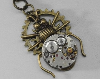 Steampunk Beetle Necklace Vintage Watches Movements Industrial Jewelry Neo Victorian Scarabs Bugs Simple Diversions Jewellery