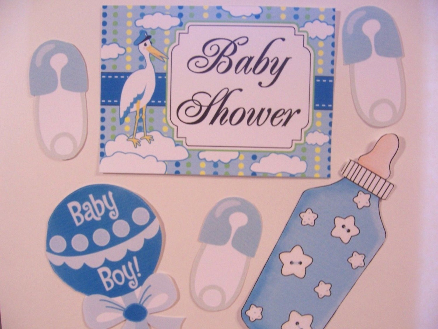 Baby shower door decorations laminated 6pc set baby boy for Baby shower door decoration