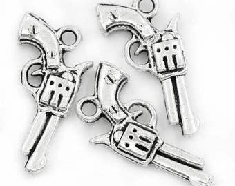 5 Antiqued Silver Gun Charms