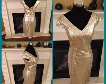 Champagne sequin dress, sequin bridesmaid dress, V neck short sequin dress Clearance
