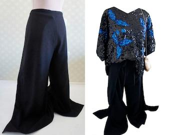 Vintage 80s wrap harem pants. Black cotton loose fitting harem pants. Side slits.