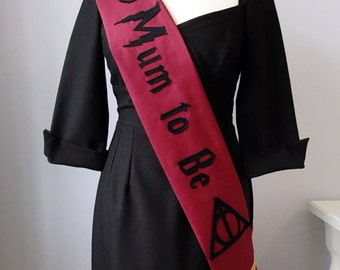 Magical baby sash, Harry Potter style baby shower, mum to be sash, mom to be party sash