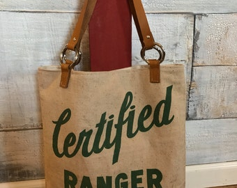 Feed sack purse handbag tote shoulder bag recycled