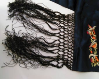 Vintage Floral Embroidered Navy Silk Scarf with black braided fringes