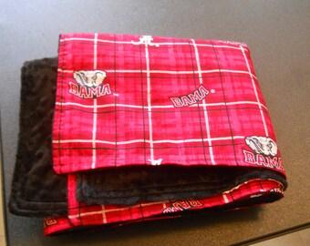 University of Alabama Crimson Tide baby or small lap blanket plaid with black minky silky soft minkee