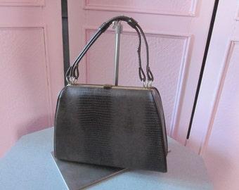 1950s Brown Reptile-Embossed Vinyl Handbag
