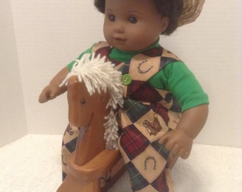 """Cowboy Coverall Outfit w/Hat - Fits 15"""" Bitty Baby and all other 15"""" Dolls"""