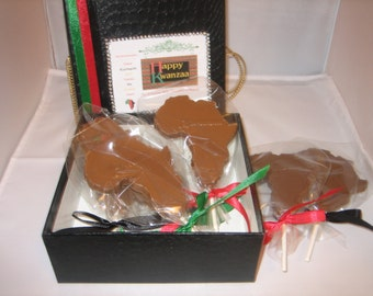 "Chocolate Lollypops ""Happy Kwanzaa Milk Chocolate Deluxe Box Set of Six"