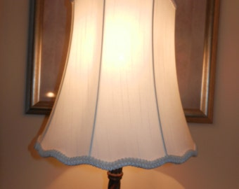 Large Off White Modified Bell Shade with Lace Trim on the Scalloped Bottom
