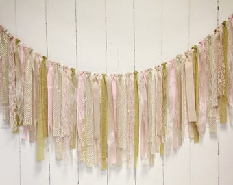 Rag Tie Banner, Lace, Champagne, Gold, Blush, Ivory, Rag Tie Garland, Fabric Garland, Photo Prop, Wedding, Bridal Shower, Shabby Chic