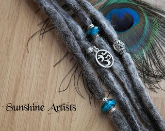 Grey wool dreads, clip in dreads, Merino, natural grey, Turquoise cats eye glass Murano beads, Tibetan silver, Om symbol charm, dread beads