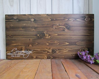 Rustic Wedding Guest Book Alternative Wood Sign - Last Name with Date - Personalized Wedding Sign - Choose Your Colors - MADE TO ORDER