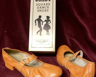 Vintage COAST Square Dance Shoes - Orange - Ringo - Size 8N