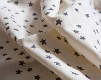Starry Night Fabric / Pebble Grey -  Hand screen printed Organic Hemp / Cotton blend