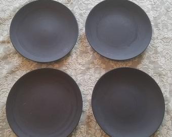 Wedgwood black basalt plates (4) ca. 1950s