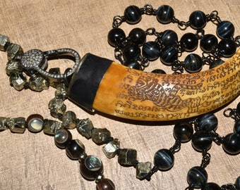 Long Tribal Beaded Necklace Carved Tusk Tigers Eye Pyrite Pave Diamond Statement Piece