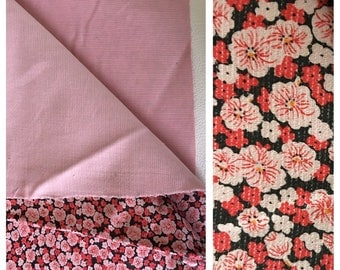 Vintage DOUBLE sided pink floral corduroy fabric
