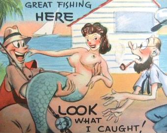 Unused Vintage Fishing Mermaid Postcard