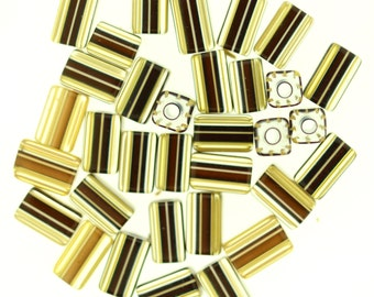 Furnace Glass Beads, Matched set 33 Rich Brown with Gold Stripes Rectangular Beads  # 15