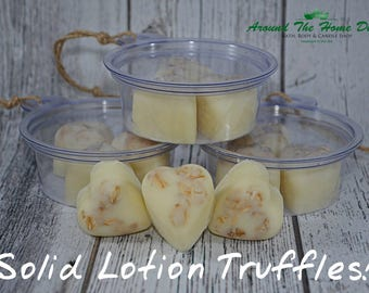 Ready to Ship! Solid Lotion Heart Shaped Truffles. 2 Fragrances Available! Come in Travel Container.