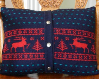 UpCycled Wool Sweater Pillow with Pewter Buttons, Navy with Red Deer